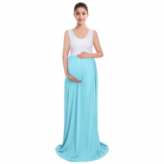 FYMNSI Pregnant Women Summer Long Dress Ruched Sleeveless Color Block Boho Maxi Tank Dress Maternity Stretch Cotton Casual Party Cocktail Baby Shower Photo Shoot Props Photography Clothes Light BlueXL