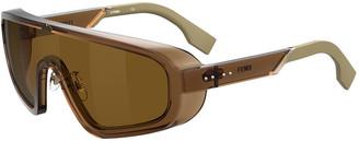 Fendi Men's Mirrored Two-Tone Lens Shield Sunglasses