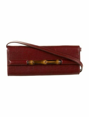 Gucci Vintage Leather Bamboo Clutch w/Strap Red