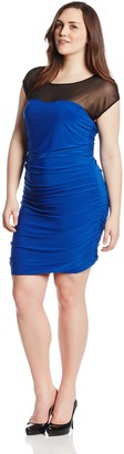 Star Vixen Women's Plus-Size Cap Sleeve Rouched Dress with Illusion Yoke