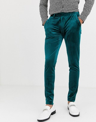 ASOS DESIGN super skinny smart trousers in pleated velvet in green