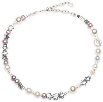 Dannijo Cameo 4MM-12MM Freshwater Pearl Bead Star Choker Necklace