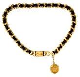 Chanel Chain-Link Leather Medallion Belt