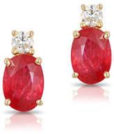Effy 14K Yellow Gold Ruby Earrings with 0.016 TCW Diamonds