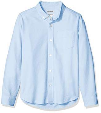 Amazon Essentials Husky Long-sleeve Oxford Shirt Button Blue, L(H)