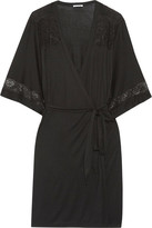Eberjey Adeline Lace-trimmed Stretch-jersey Robe - Black