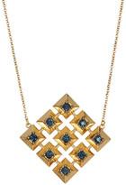House Of Harlow Blue Rhinestone Embellished Grid Square Pendant Necklace