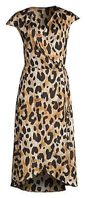 Gottex Swim Women's Leopard Print Silk Chiffon Wrap Dress