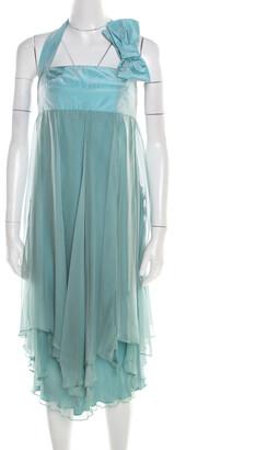Max Mara Pale Blue Silk Organza Draped Bow Detail Halter Dress M