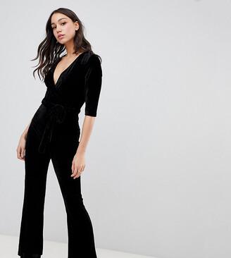 Parisian Tall velvet jumpsuit with belt-Black