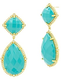 Freida Rothman Color Theory Faceted Double Drop Earrings in 14K Gold-Plated Sterling Silver