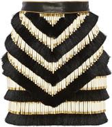 Balmain Embellished leather mini skirt