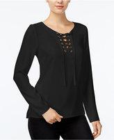 Kensie Long-Sleeve Lace-Up Top