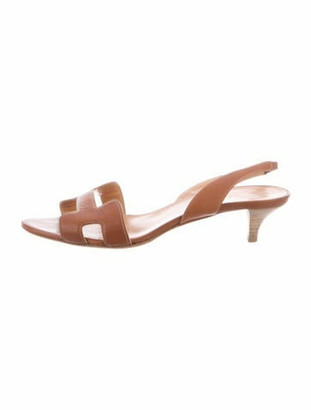 Hermes Night Leather Slingback Sandals Brown
