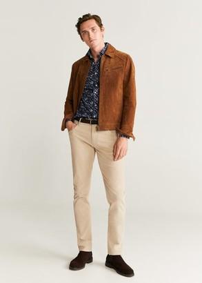 MANGO MAN - Slim fit floral print shirt blue - XXS - Men
