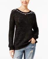 Ultra Flirt Juniors' Embellished High-Low Sweater