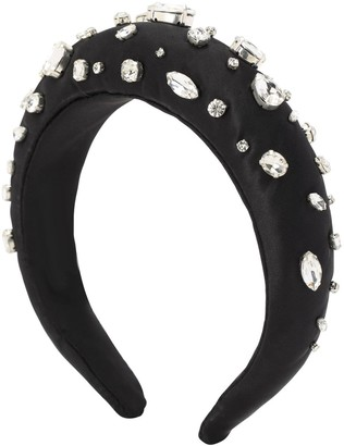 Shourouk Diana Crystal Embellished Satin Headband