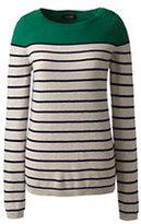 Classic Women's Petite Year Round Cashmere Tunic Sweater-Garlic Clove Heather Stripe