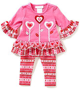 Bonnie Jean Bonnie Baby Baby Girls Newborn-24 Months Valentine's Heart-Appliqued Dress & Printed Legging Set