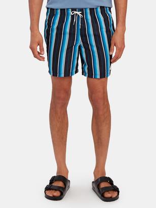Bather Black Stripe Swim Trunk