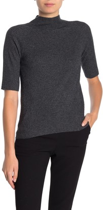 M Magaschoni Mock Neck Elbow Sleeve Cashmere Pullover