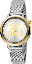 Just Cavalli 34mm Logo Two-Tone Stainless Steel Bracelet Watch, Silver