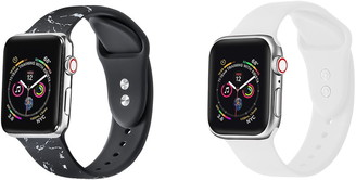 Posh Tech Black Marble/White Apple Watch Replacement Band - Set of 2
