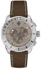 Versace Men's 48mm Casual Chronograph Watch w/ Leather Strap, Steel/Brown