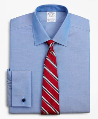 Brooks Brothers Stretch Regent Fitted Dress Shirt, Non-Iron Pinpoint Ainsley Collar French Cuff Pinpoint