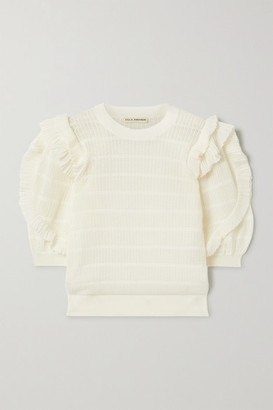 Ulla Johnson Aveline Ruffled Pointelle-knit Cotton-blend Top - Ivory