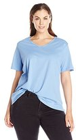 Fresh Women's Plus-Size Basic V-Neck Solid T-Shirt