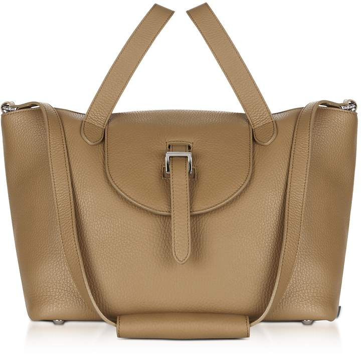 Meli-Melo Light Tan Leather Thela Medium Tote Bag