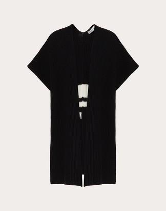 Valentino Vltn Wool Intarsia Poncho Women Black/ivory Virgin Wool 100% S
