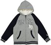 U.S. Polo Assn. Light Heather Gray 'USPA 90' Sherpa-Lined Fleece Hoodie - Boys