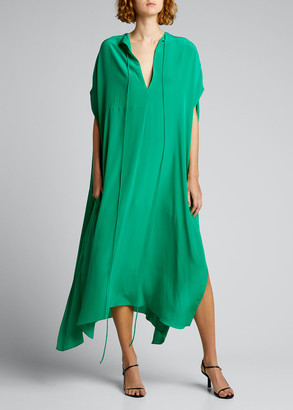 Victoria Beckham Elbow-Sleeve Silk Caftan Dress w/ Side Slits