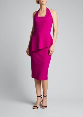 Chiara Boni Jilliam Asymmetric Peplum Jersey Halter Dress
