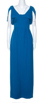 Fendi Blue Wool Blend Crepe Raw Edge Detail Maxi Dress M