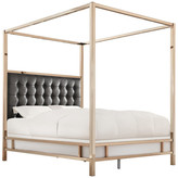 Inspire Q Safira Modern Metal Canopy Bed in Champagne Gold, Black Bonded Leather