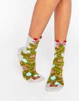 Asos Holidays Tree Sock With Glitter And 3D Welt