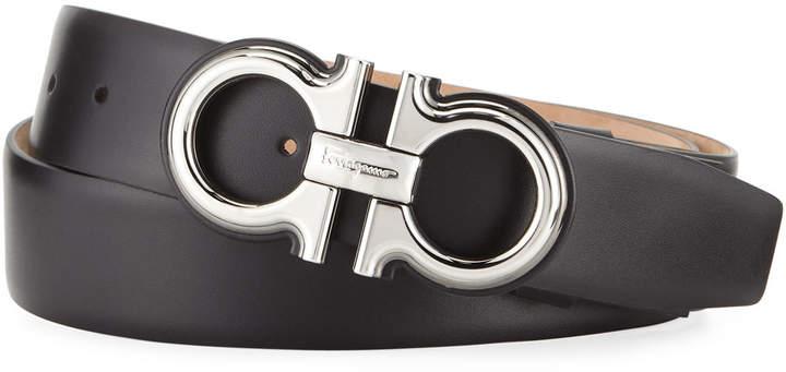 Salvatore Ferragamo Men's Double-Gancio Leather Belt