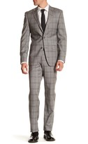 Simon Spurr Gray Plaid Two Button Notch Lapel Regular Fit Suit