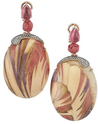 Silvia Furmanovich Marquetry 18K Yellow Gold, Pink Tourmaline, Light Brown Diamonds & Wood Drop Earrings