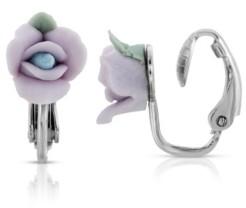 2028 Silver Tone Porcelain Rose Clip-on Earrings
