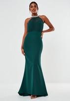 Missguided Teal Diamante Organza Halterneck Maxi Bridesmaid Dress