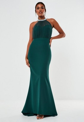 Missguided Teal Diamante Organza Halterneck Maxi Bridesmaid Dress