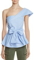 J.o.a. One Shoulder Solid Peplum Top - 100% Exclusive