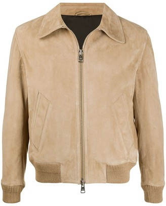 Ami Alexandre Mattiussi Zipped Classic Suede Jacket Beige