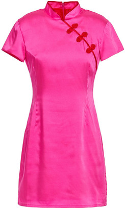 De La Vali Suki Appliqued Satin-twill Mini Dress