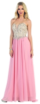 May Queen - Long Strapless Sequined Shirred A-line Dress RQ7267