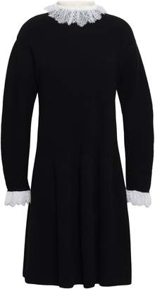Philosophy di Lorenzo Serafini Lace-trimmed Ribbed-knit Wool-blend Mini Dress